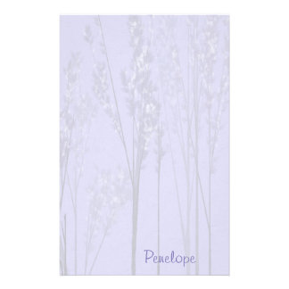 Pretty Lavender Flowering Trees with Name Stationery