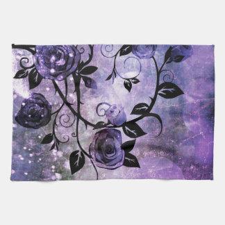 Pretty Lavender Purple Fantasy Rose Vine Floral Tea Towel