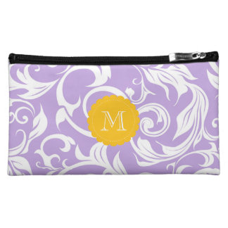 Pretty Lavender Purple Floral Scroll Monogram Makeup Bag