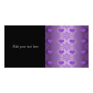 Pretty Lavender Purple Hearts Damask Photo Card Template
