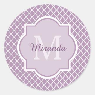 Pretty Lavender Purple Quatrefoil Monogrammed Name Classic Round Sticker