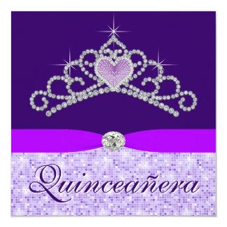 Pretty Lavender Purple Quincenera 13 Cm X 13 Cm Square Invitation Card