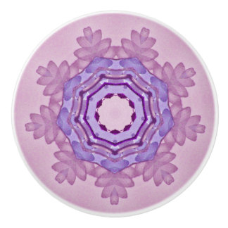Pretty Lavender Star Fractal Ceramic Knob