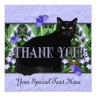 "Pretty Lavender Wildflowers and Cat Thank You Card 5.25"" Square Invitation Card"