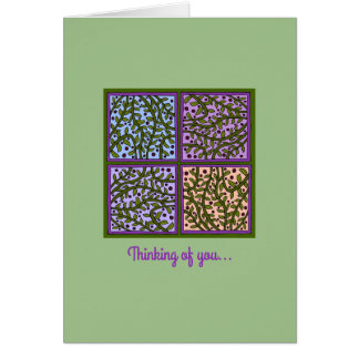 Pretty Leaf and Vine Panels Greeting Card