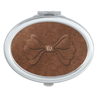 Pretty Leather Look Bow Add Initials Mirror Mirrors For Makeup