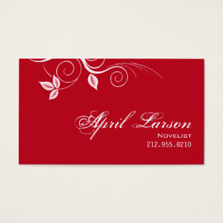 Pretty Leaves 1 - Novelist Writer Business Card