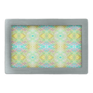 Pretty Lemon Lime Blue Pastel Tribal Pattern Belt Buckle