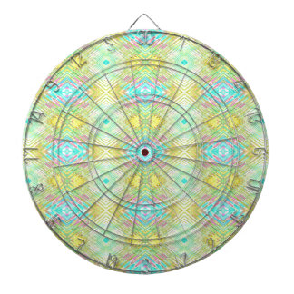 Pretty Lemon Lime Blue Pastel Tribal Pattern Dartboard