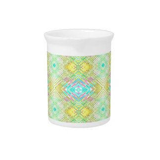 Pretty Lemon Lime Blue Pastel Tribal Pattern Pitcher