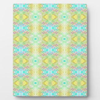 Pretty Lemon Lime Blue Pastel Tribal Pattern Plaque