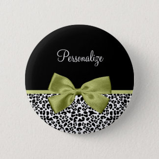 Pretty Leopard Print Spring Green Bow With Name 6 Cm Round Badge