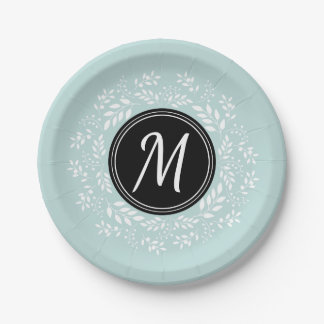 Pretty Light Blue Floral Wreath Personalized Paper Plate