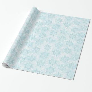 Pretty Light Blue Snowflakes Wrapping Paper