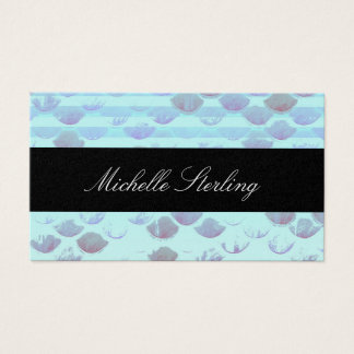 Pretty Light Blue Striped Mermaid Fish Scales Business Card