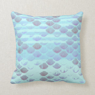 Pretty Light Blue Striped Mermaid Fish Scales Throw Pillow