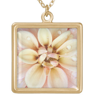 Pretty Light Pink and Yellow Flower Watercolor Gold Plated Necklace