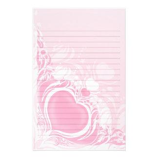 pretty light pink heart swirl wedding lined paper