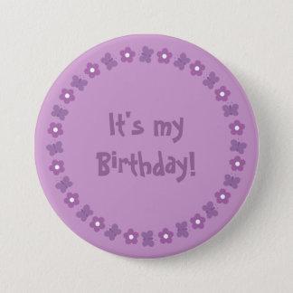 Pretty lilac flowers & butterflies Birthday button