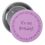 Pretty lilac flowers & butterflies Birthday button
