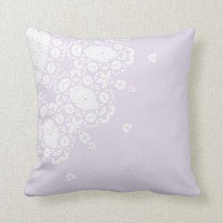 Pretty Lilac White Lace Pattern Throw Pillow Cushion