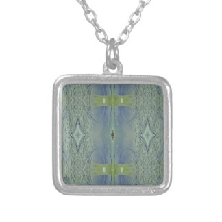 Pretty Lime Blue Artistic Pattern Silver Plated Necklace
