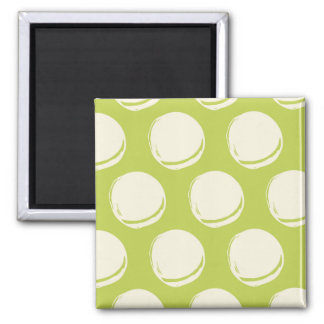 Pretty Lime Green Abstract Circles Pattern Fridge Magnets