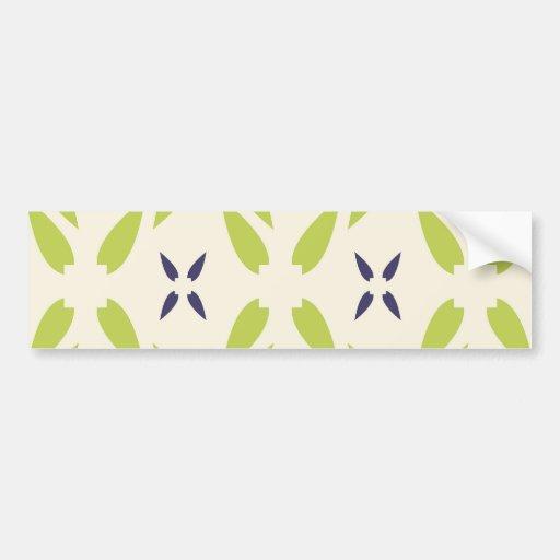 Pretty Lime Green and Purple Floral Wallpaper Bumper Sticker
