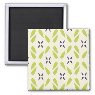 Pretty Lime Green and Purple Floral Wallpaper Magnets