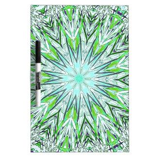 Pretty Lime Green Snowflake Shaped Mandala Dry Erase Board