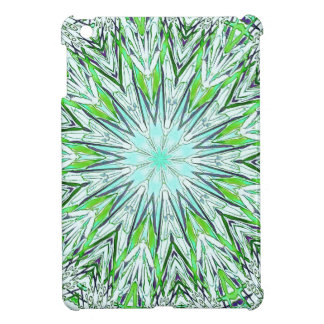 Pretty Lime Green Snowflake Shaped Mandala iPad Mini Cover