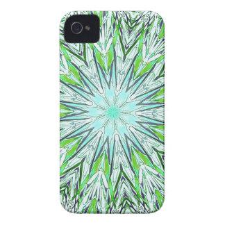 Pretty Lime Green Snowflake Shaped Mandala iPhone 4 Case-Mate Case