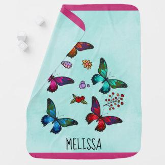 Pretty Little Butterflies on Mint Green Custom Baby Blanket