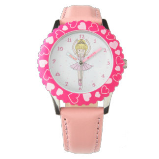 Pretty Little Cartoon Ballerina Girl in Pink Wrist Watches