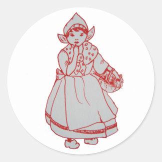 Pretty Little Dutch Girl Classic Round Sticker