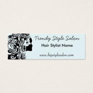 Pretty Long Curly Curls Hair Stylist Woman Fashion Mini Business Card