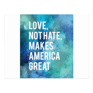 Pretty Love not hate makes America great watercolo Postcard