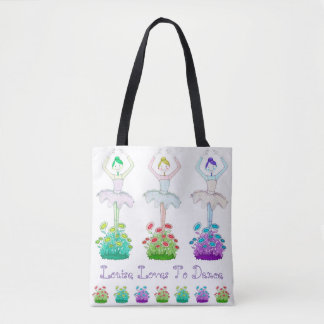 "Pretty ""Love To Dance"" Tote Bag, personalised"