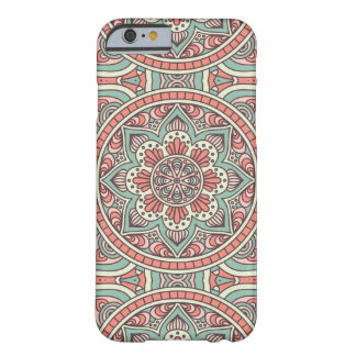 Pretty Mandala Boho Pattern Mint and Coral Barely There iPhone 6 Case