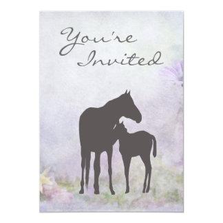 """Pretty Mare and Foal Silhouette Baby Shower Invite 5"""" X 7"""" Invitation Card"""