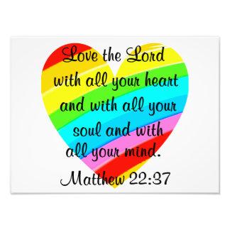 PRETTY MATTHEW 22:37 LOVE HEART DESIGN PHOTOGRAPHIC PRINT