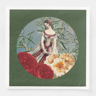 Pretty Medieval Girl with Roses Paper Napkin