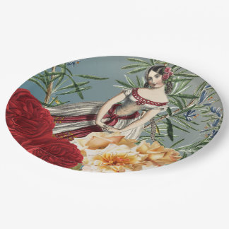 Pretty Medieval Girl with Roses Paper Plate