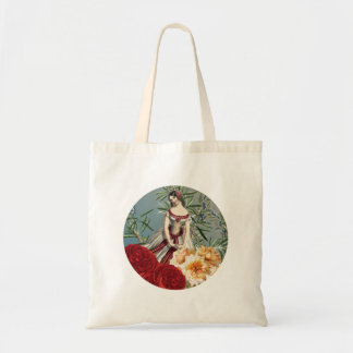 Pretty Medieval Girl with Roses Tote Bag