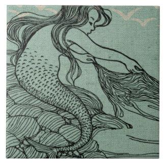 Pretty Mermaid On The Sea Shore Nautical Scene Ceramic Tile