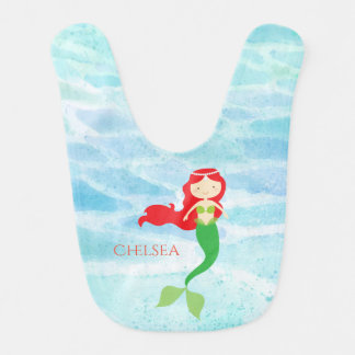 Pretty Mermaid Personalized Baby Bib