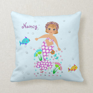 Pretty Mermaid Themed Personalised Design Throw Pillow