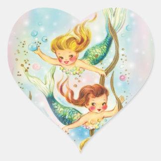 Pretty Mermaids Swimming - heart shaped stickers