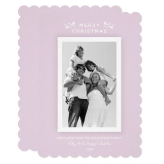 Pretty Millennial Pink Minimal Christmas Photo Card