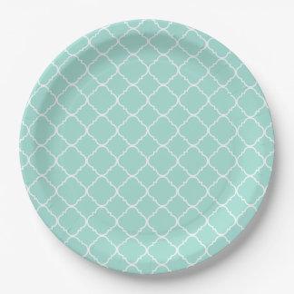 Pretty Mint and White Quatrefoil Paper Plate